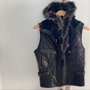 Genuine Black Leather Moto Vest W Hood